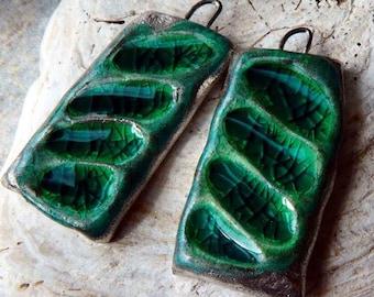 Ceramic Enamel Rectangle Earring Charms - Green
