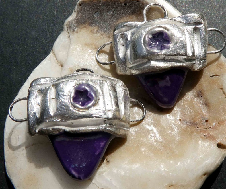 Ceramic Tuareg  Inspired Earring Connector Charms Dark Purple