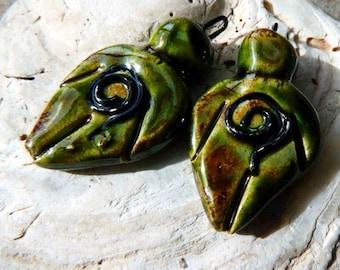 Ceramic Goddess Earring Charms - Olive