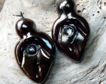 Ceramic Goddess Earring Charms - Rose Gold