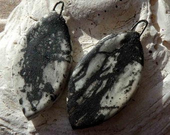 Ceramic Feather Scorched Earring Charms