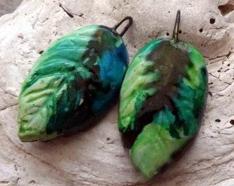 Ceramic Little Leaves Earring Charms