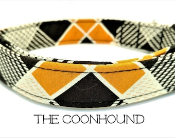 Dog Collar, The Coonhound, Preppy Dog Collar, Plaid Dog Collar, Orange and Black Dog Collar, Dog Gift, Puppy, Matching Leash Available