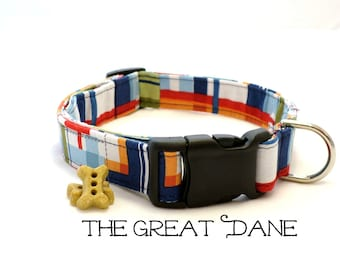 Preppy Plaid Dog Collar, The Great Dane, Preppy Dog Collar, Boy Dog Collar, Plaid Collar, Pet Collar, Large Dog Collar (leash Available)