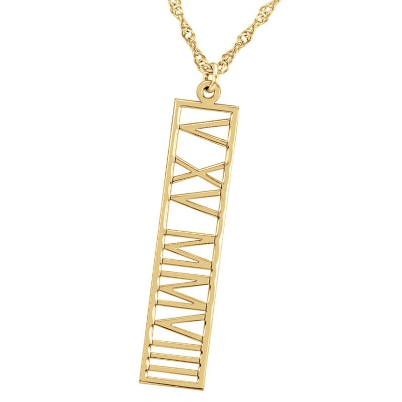 Roman Numeral 14k Gold Bar Necklace Personalized Roman