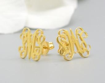 14k Gold Monogram earrings Personalized Earrings, letter earrings, nameplate earring, stud earrings initial earrings for women