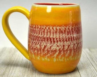 Unique Ceramic Mug in Bright Colors - Boho Mug - Colorful Mug - Handmade mug - Ceramic Tea Mug - Handcrafted Pottery Mug