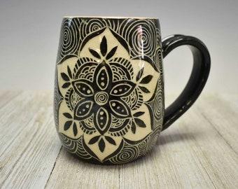 Mandala Ceramic Coffee Mug - Sgrafitto Carved Pottery  - Artisan Made Pottery Mug with Carved design - Large mug