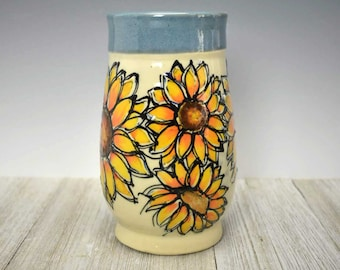 Handcrafted Large Ceramic Vase with hand-painted Sunflowers - Sunflower Gift - Sunflower Vase - Sunflower Lover