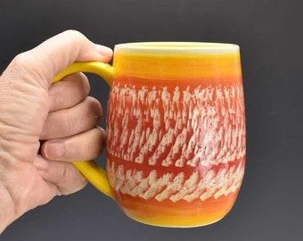 Ceramic Mug in Sunrise Colors - Boho Mug - Colorful Mug - Handmade mug - Ceramic Tea Mug - Handcrafted Pottery Mug