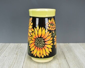 Handcrafted Ceramic Vase with Etched and  Carved Sunflowers - Sunflower Gift - Sunflower Vase - Sunflower Lover