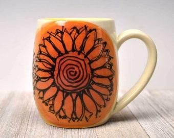 Sunflower Mug - Black and Orange - Boho Mug - Artisan Made Pottery Mug - Colorful Mug - Ceramic Mug