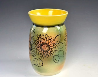 Sunflower Ceramic Vase - Flower Vase - Bud Vase -  Handcrafted and Hand-painted