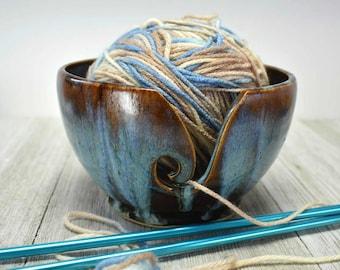 Ceramic Yarn Bowl - Blues and Browns - Crochet Bowl - Yarn Holder - READY TO SHIP