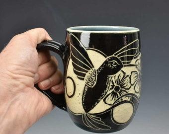 Hummingbird Mug - Ceramic Mug for the Hummingbird lover - 12 oz mug  - Hummingbird Gift - Hummingbird Art - Yellow Cottage Studios
