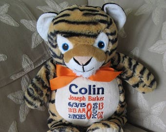 Personalized Stuffed Tiger New Baby Birth Announcement Baby Shower Gift Birthday Gift Baptism Gift Cubbies Stuffed Tiger Jungle Theme Toy