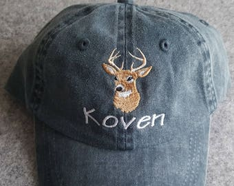 Personalized Toddler Kids Baseball Cap Kids Buck Deer Hat Kids Hunting Hat Kids Birthday Gift Youth Deer Hat  Unisex Hunting Theme Hat