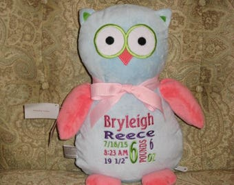 Personalized Stuffed Animal Birth Announcement New Baby Gift Baby Shower Gift Baptism Gift Cubbies Owl Big Sister Gift Flower Girl Gift