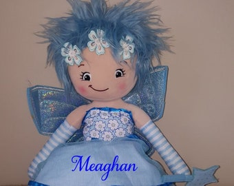Personalized Blue Fairy Rag Doll Cubbies Fairy Doll Big Sister Little Sister Flower Girl Gift Toddler Girl Gift Custom Embroidered Fairy