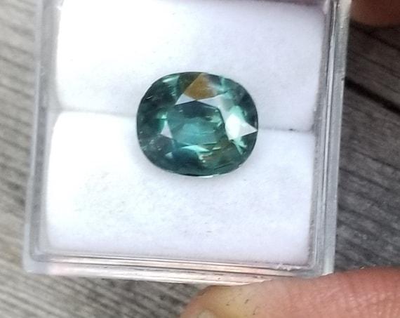 Natural Ceylon Blue Green Sapphire 9.6x8.2 MM Cushion