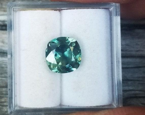 Blue Green Sapphire 7.7 MM Square Cushion Precision Cut