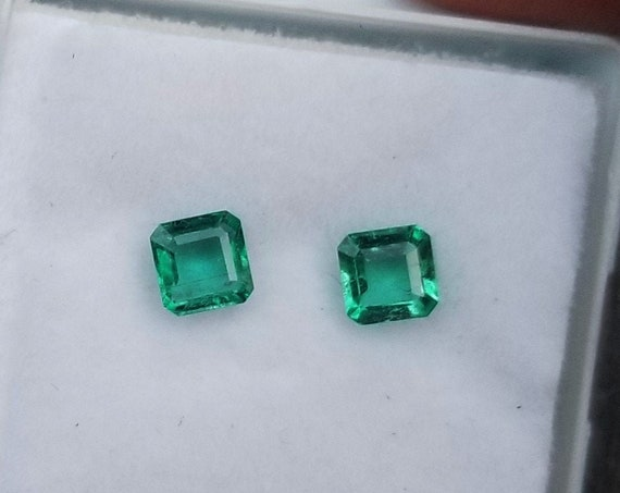Emeralds 4 MM Square May Birthstone for Earrings
