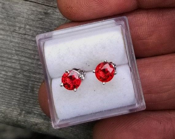 5 MM Round Earrings 14k White Gold Studs