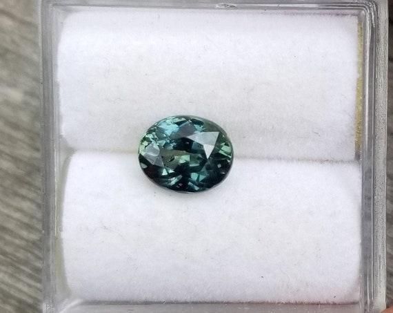 Natural blue Green Sapphire 1.24 Carat Oval Precision Cut