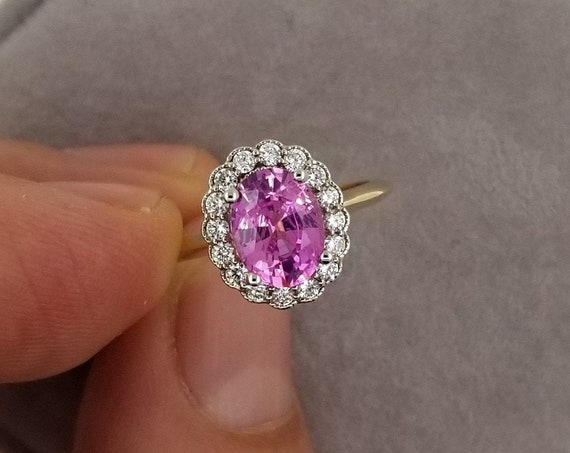 Vintage Inspired Pink Sapphire Two Tone Gold Ring