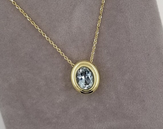 Aquamarine 14k Yellow Gold Bezel Set Pendant (chain not included)