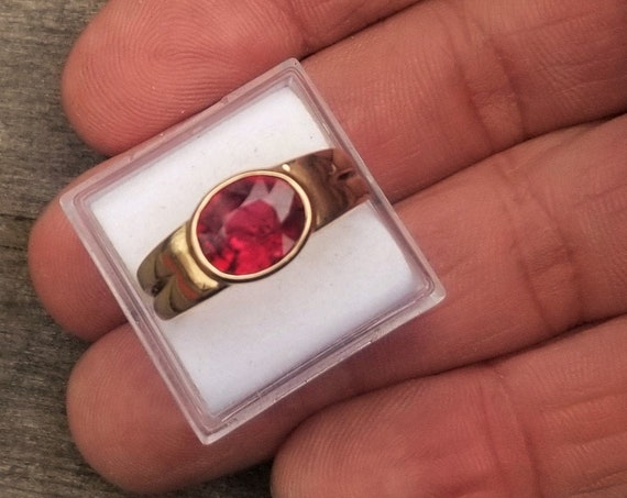 Natural Oval Red Spinel 14K Gold Ring