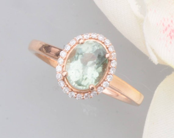 Mint Green Tourmaline 1.5cts Rose Gold Halo Ring