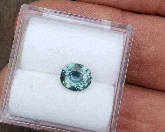Blue Green Sapphire 6.7x5.8 Oval September Gemstone