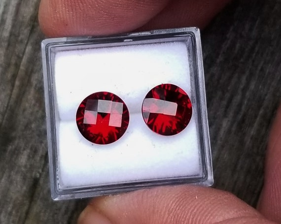 Checkerboard Pyrope Garnet 8 MM Round Pair for Earrings