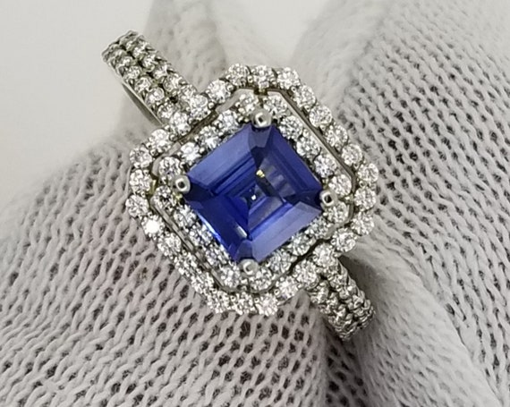 Square Blue Sapphire Diamond Double Halo Engagement Ring