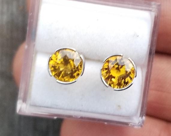 Ceylon Round Sapphire Stud Earrings 14k White Gold