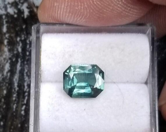 Fine Teal Sapphire 8x6.5mm Emerald Cut Shape