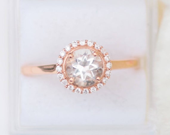 White Topaz Rose Gold Diamond Halo Ring