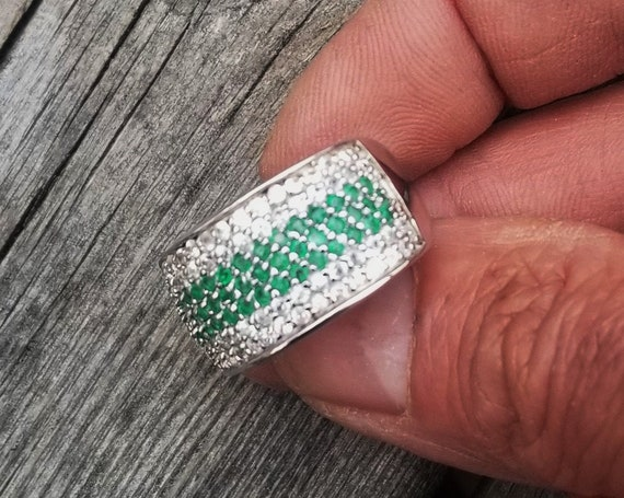 Fine Sterling Silver Emerald Ring with Accent Zirconia