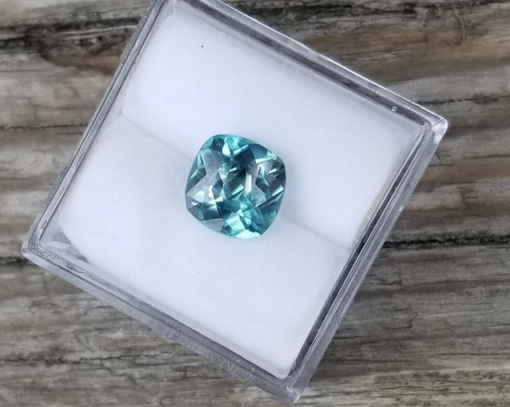 Natural Blue Zircon 7.4MM Square Cushion December Birthstone