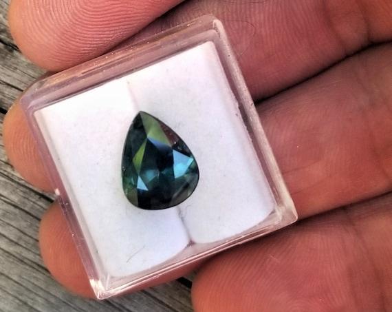 Peacock Blue Green Sapphire 11x8.8MM Pear Shape