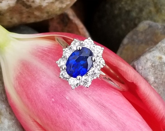 Kate Middleton Style Sapphire Diamond Cluster Ring in 14k White Gold