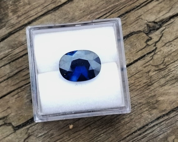 Natural Blue Sapphire 10.5x8mm Cushion for Engagement Ring