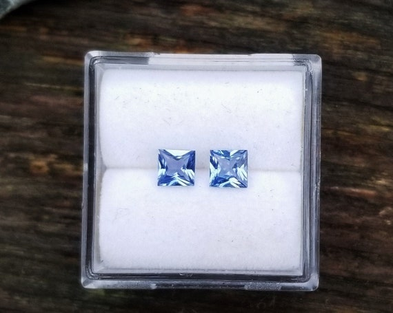 Princess Cut 4 MM Blue Sapphire for Earrings