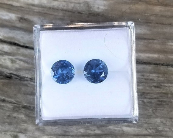 Round Blue Sapphire for Earrings 2 Cts Total Weight