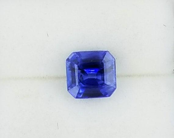 Natural Blue Sapphire 0.82cts Asscher Cut