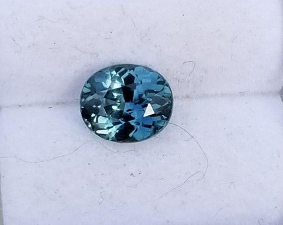 Fine Blue Green Sapphire 1.42 Cts Oval Precision Cut