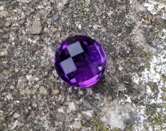 Amethyst 14.85cts Round Checkboard Cut