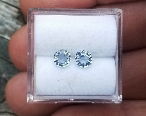 Ice Blue Sapphire 4.5MM Round for Earrings