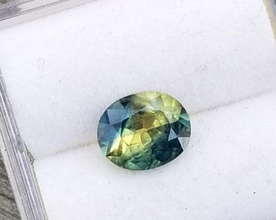 Bicolor Sapphire 7.2x6 MM Oval Unique Gemstone